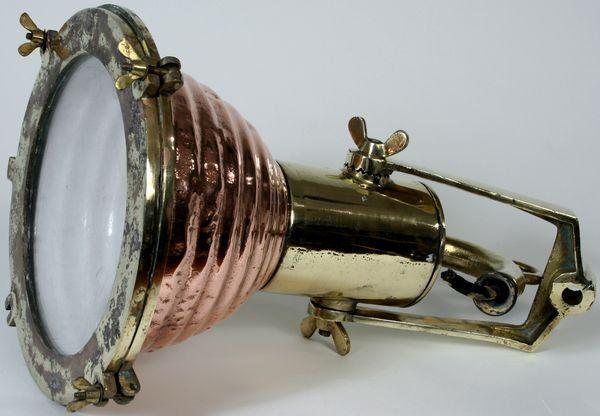 4140: Mid-20th C. Copper and Brass Ship's Spotlight