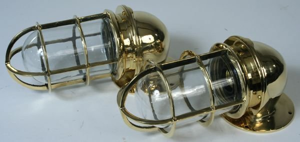 4244: Pair of 20th C. Brass Ship's Companionway Lamps