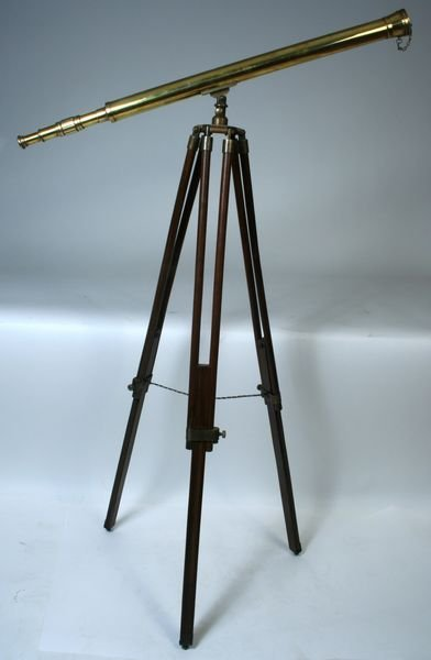 4245: Late 20th C. Reproduction Solid Brass Telescope