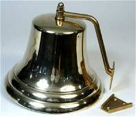 4275 20th C Solid Brass Ships Bell w Wall Bracket