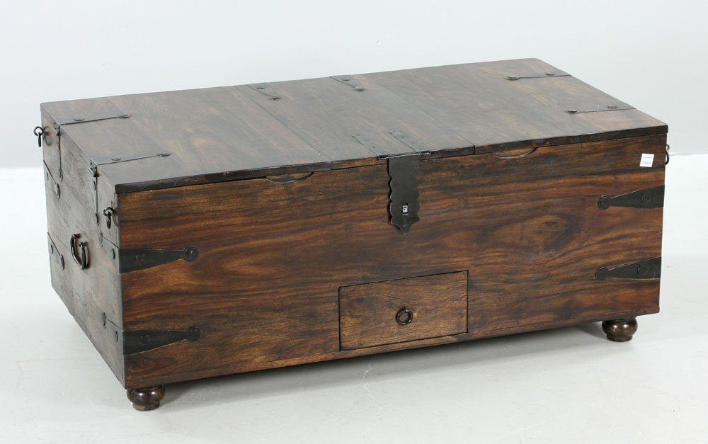 Modern Hard Wood and Metal Bound Chest