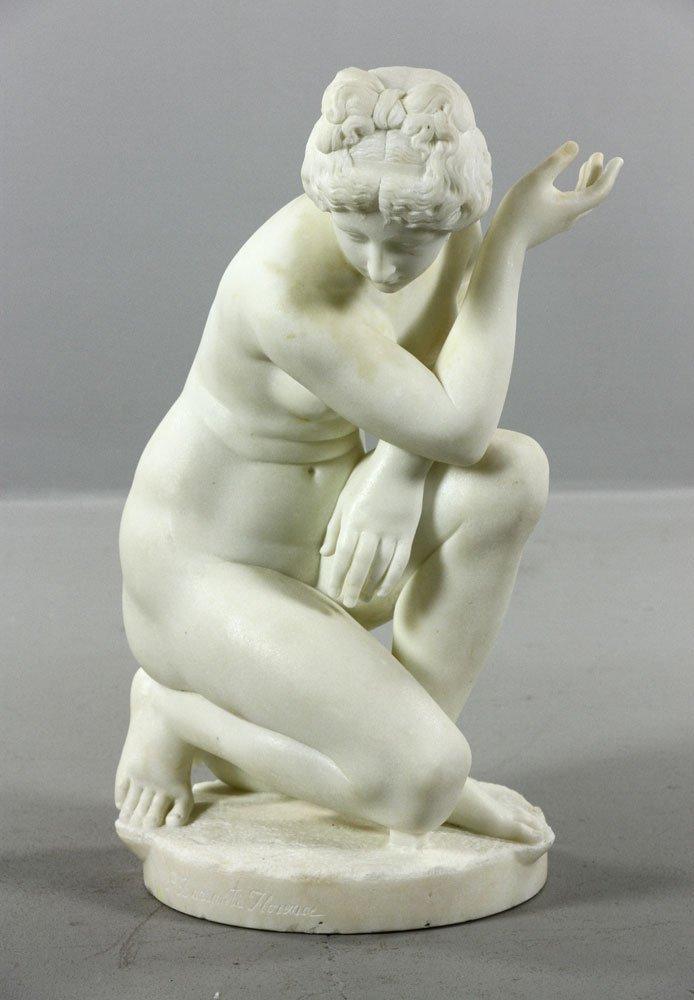 19th C. Italian, Kneeling Nude, Marble