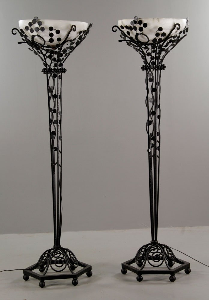 Pr. Art Deco Style Wrought Iron Floor Lamps