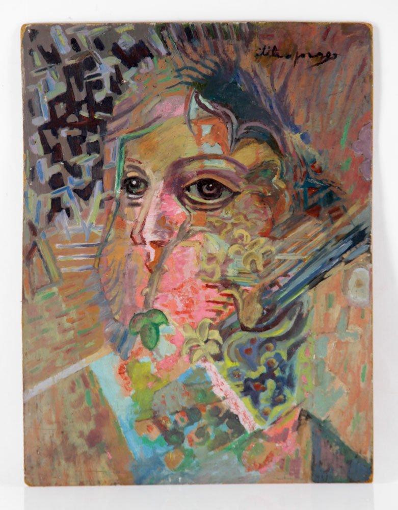 "Jorge, ""Cabeza de Mujer,"" Oil on Board"