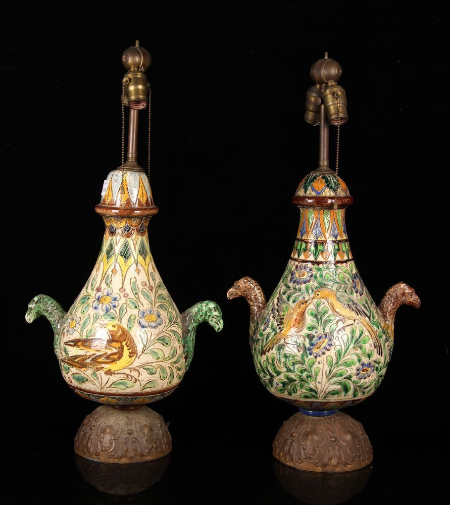 Pr. Early 20th Italian Majolica Table Lamps