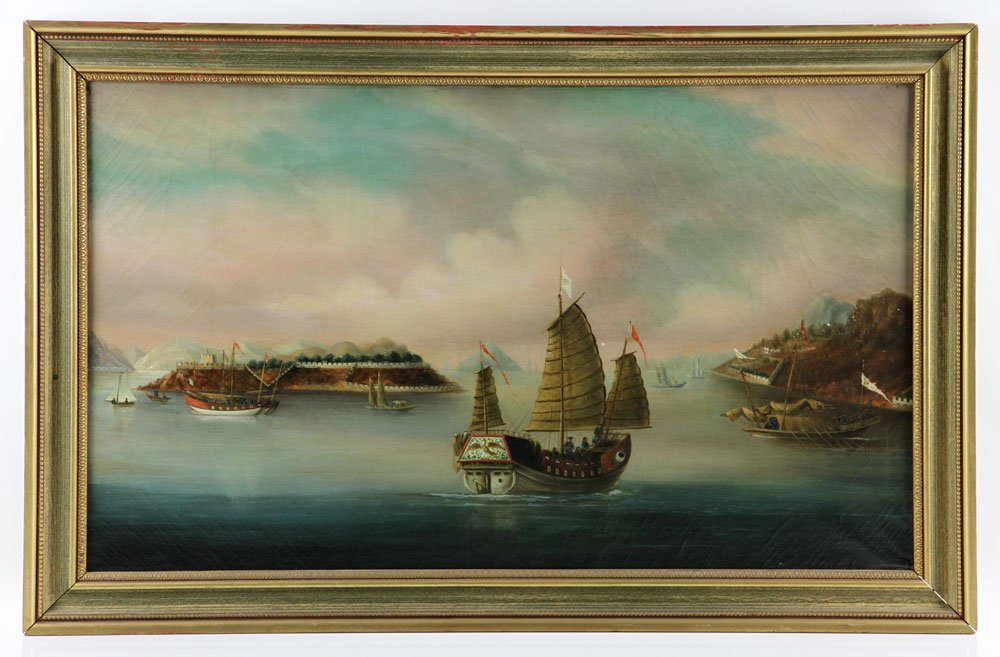 19th C. Chinese Export Painting, Oil on Canvas