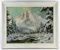 Neogrady, Winter Mountain Scene, Oil on Canvas