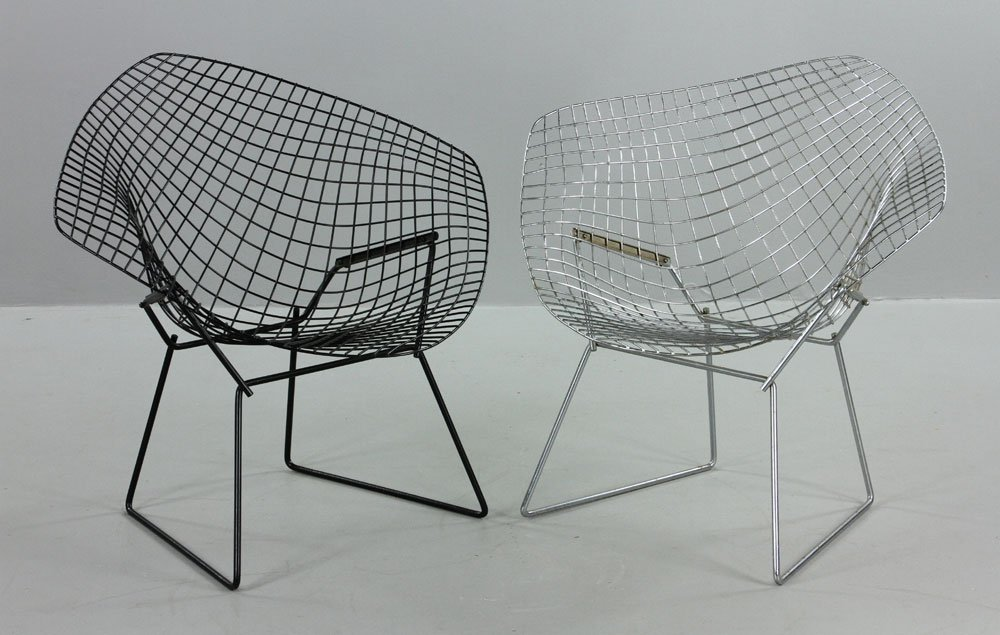 Two Bertoia Wire Chairs