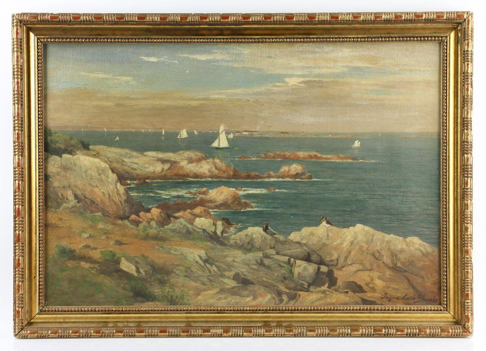 Seascape with Sailboats, Oil on Canvas