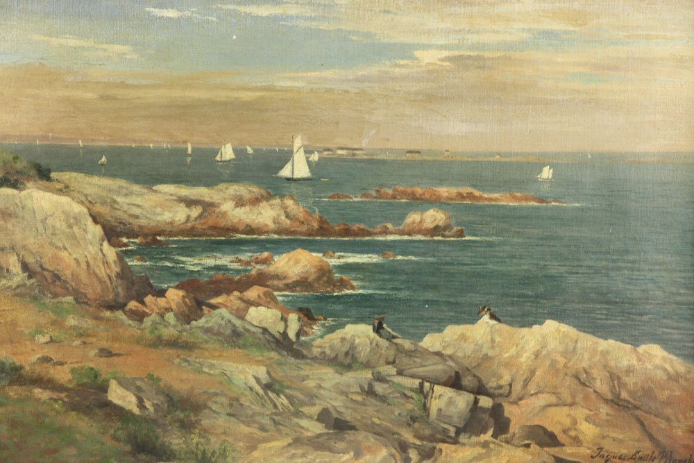 Seascape with Sailboats, Oil on Canvas - 3
