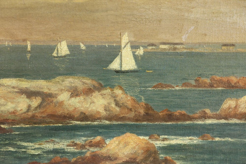 Seascape with Sailboats, Oil on Canvas - 4