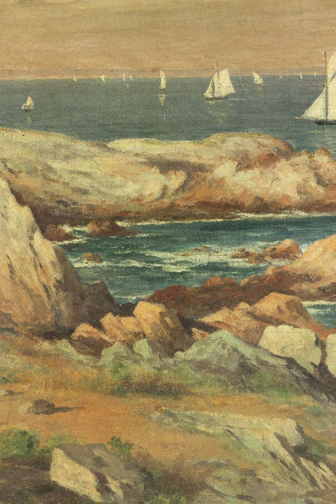 Seascape with Sailboats, Oil on Canvas - 6