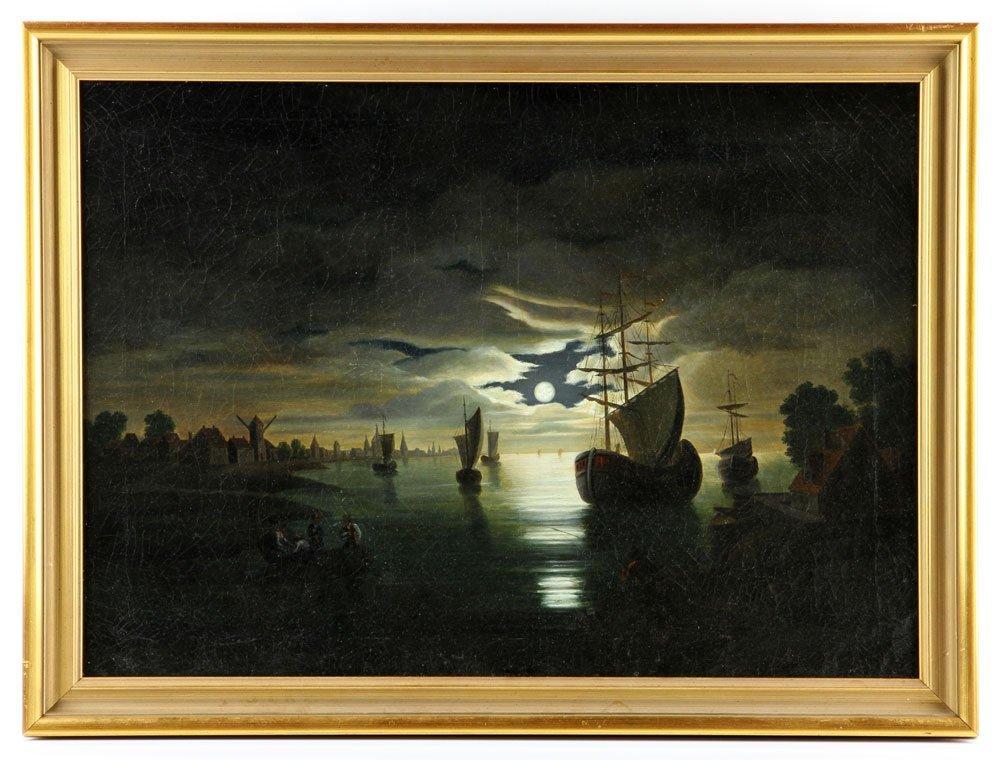 19th C. Dutch Harbor View, Oil on Canvas