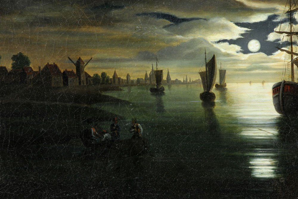 19th C. Dutch Harbor View, Oil on Canvas - 4