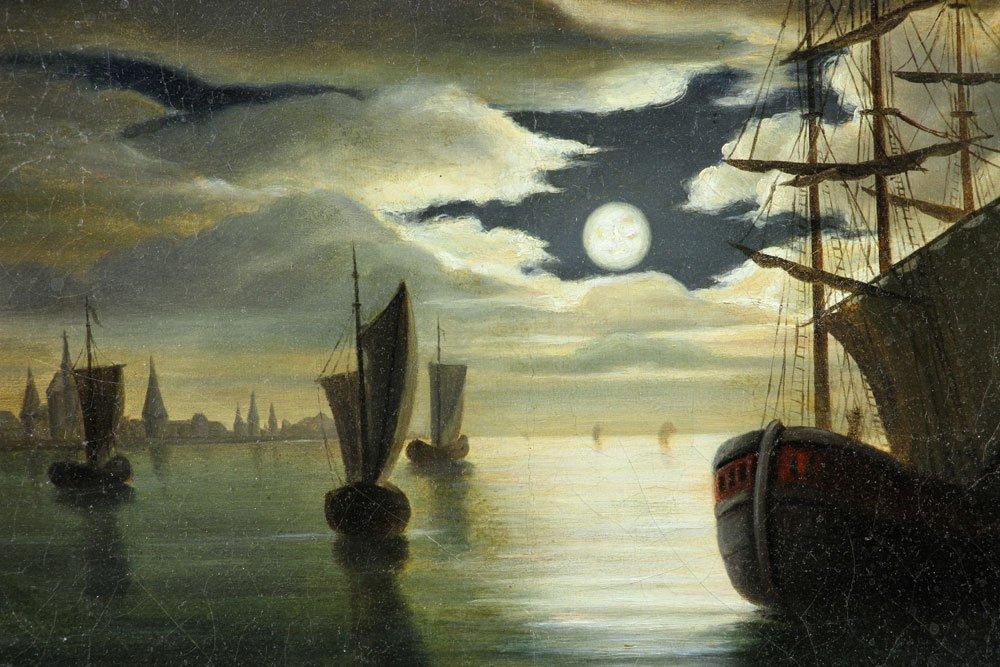19th C. Dutch Harbor View, Oil on Canvas - 6