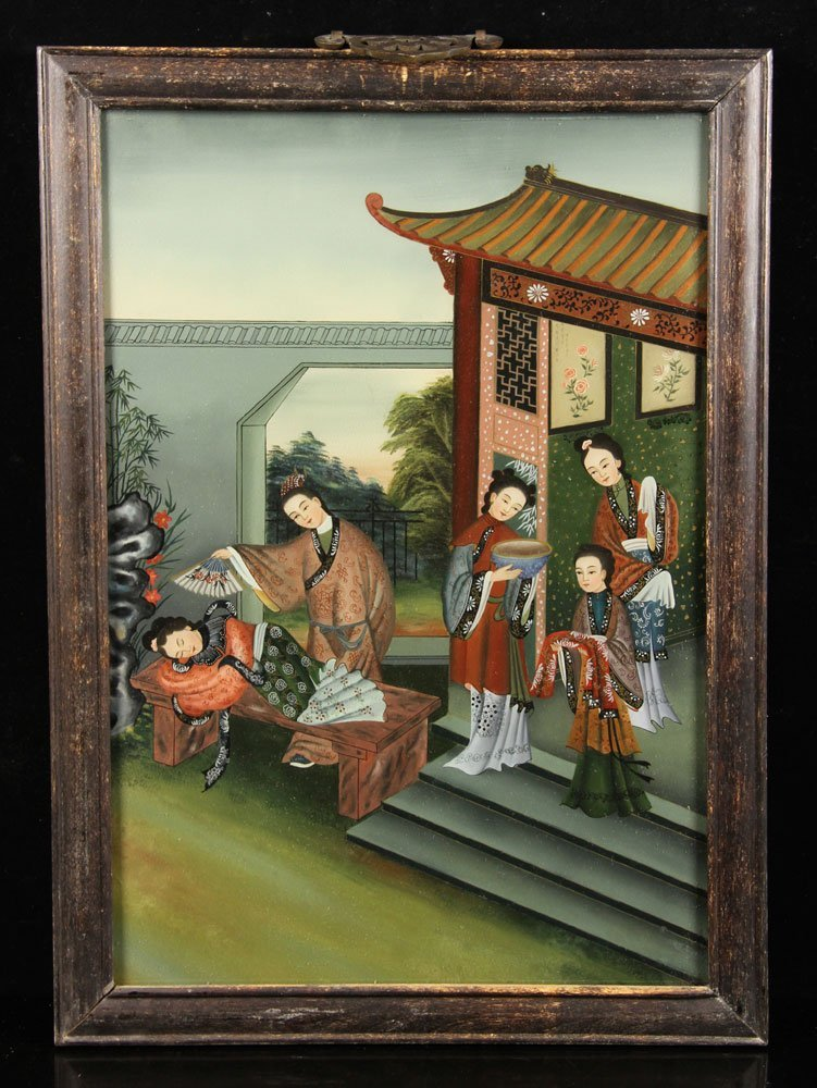 Early 20th C. Chinese Reverse Painting on Glass