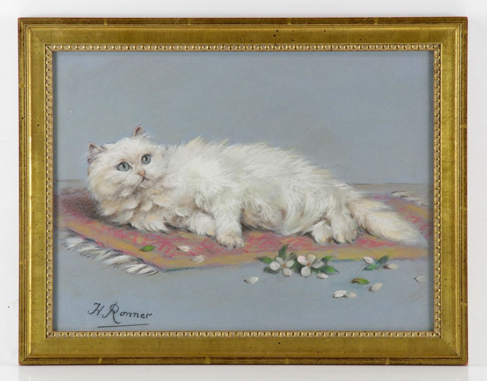 Ronner, Cat, Pastel on Paper
