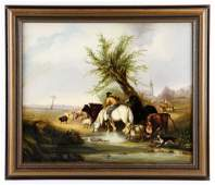 Loutherbourg, Farmer with Animals, Oil on Canvas Board