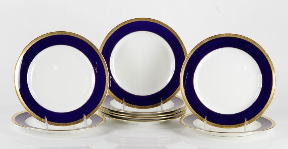 Set of 9 Hand Painted Minton Luncheon Plates