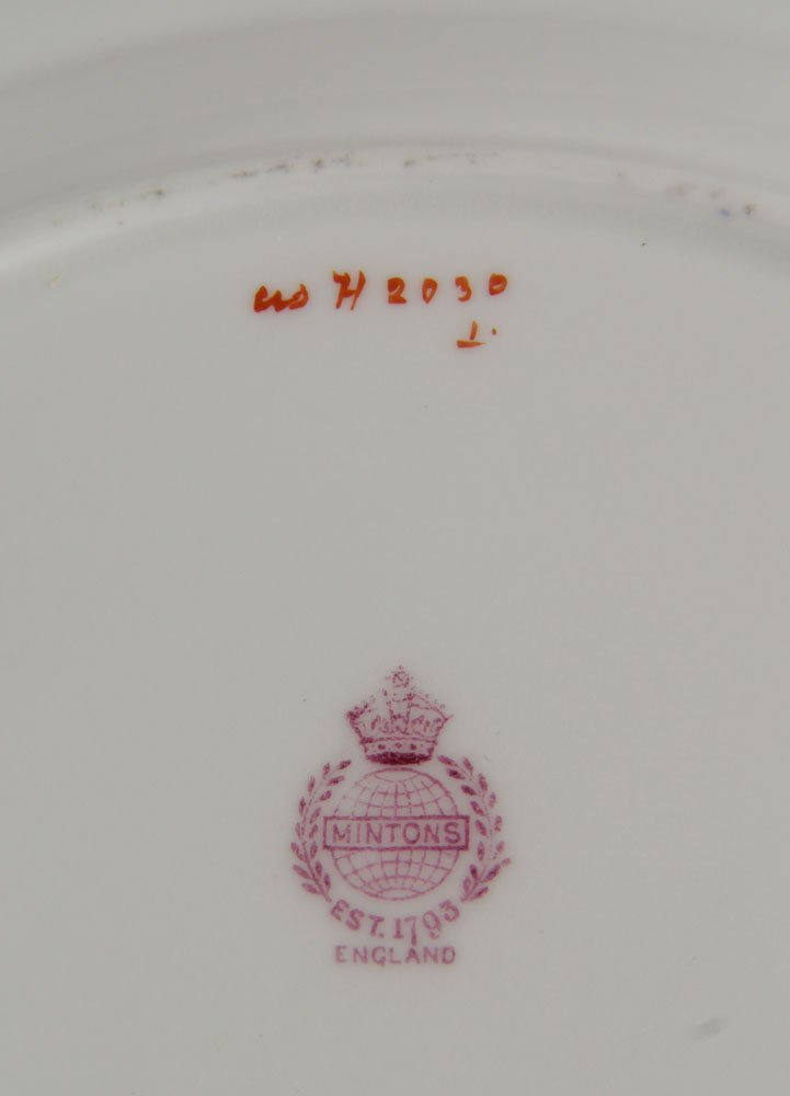 Set of 9 Hand Painted Minton Luncheon Plates - 3