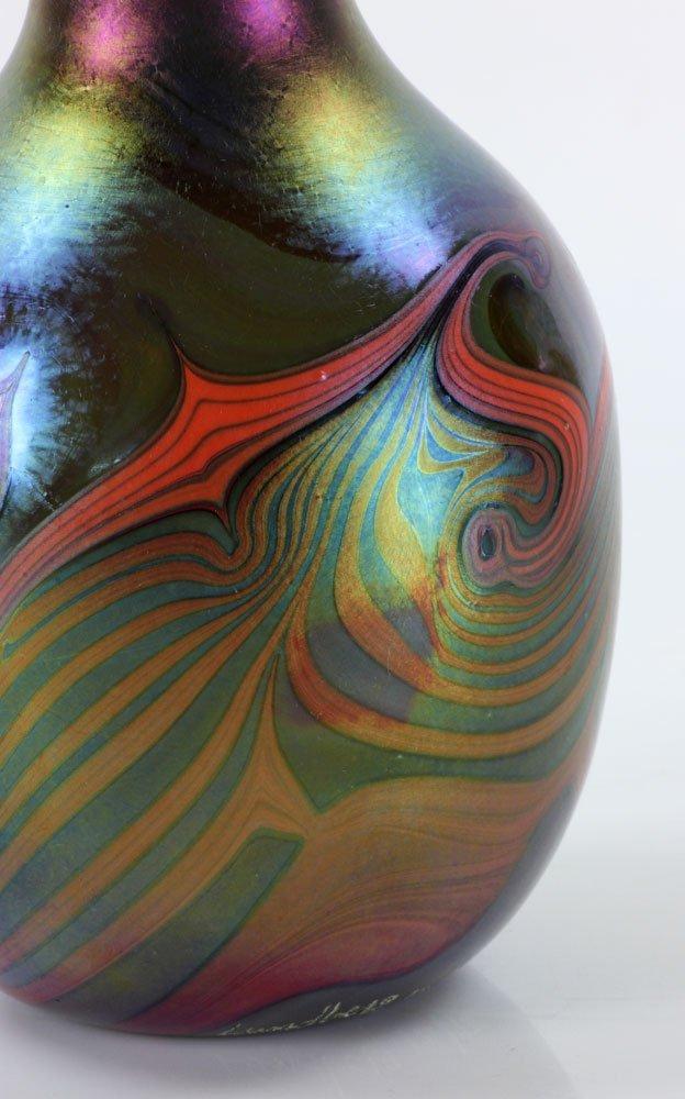 Three Lundberg Art Glass Vases - 5