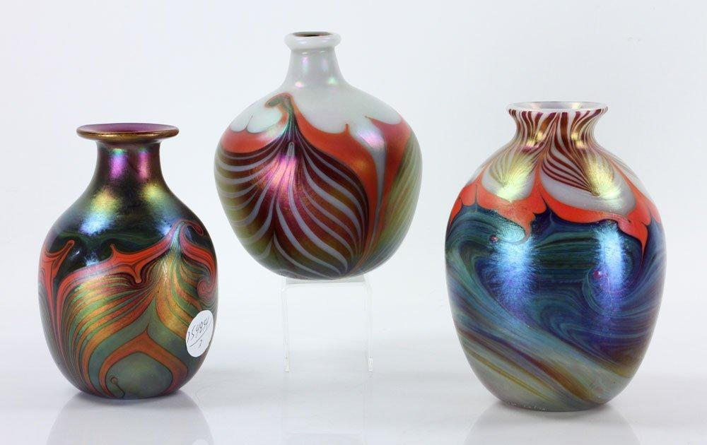 Three Lundberg Art Glass Vases