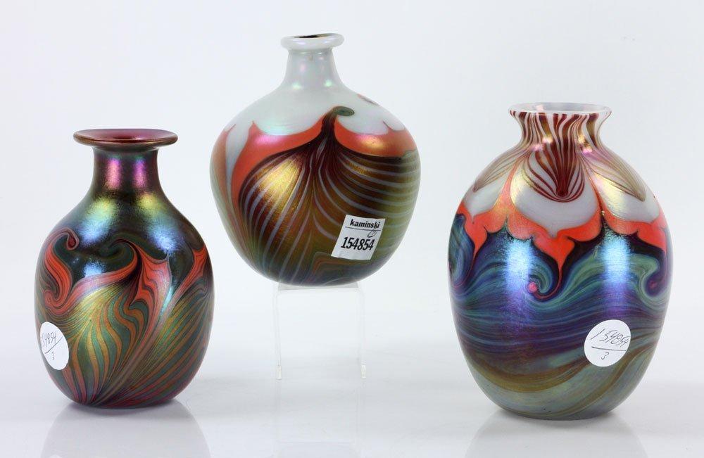 Three Lundberg Art Glass Vases - 2