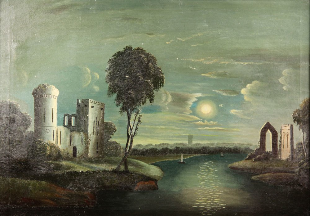 School of Thomas Chambers, Castle Ruins, Oil on Canvas - 2