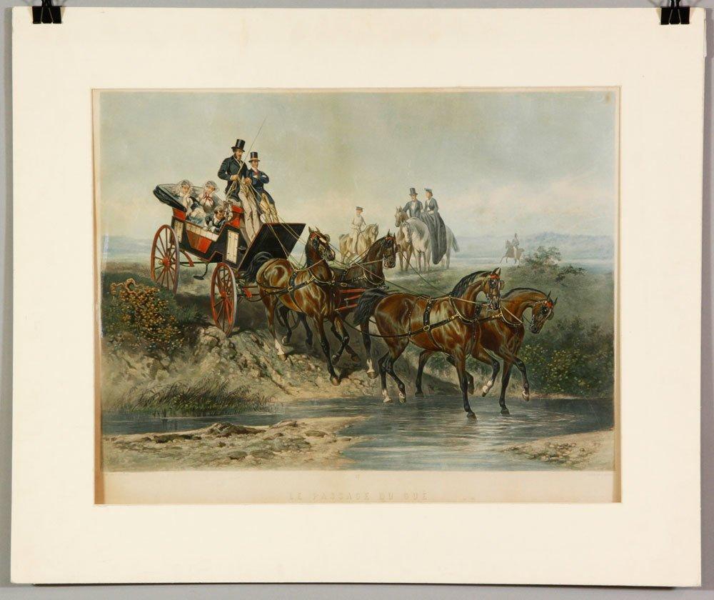 """19th C. """"Le Passage Du Gue,"""" Print"""
