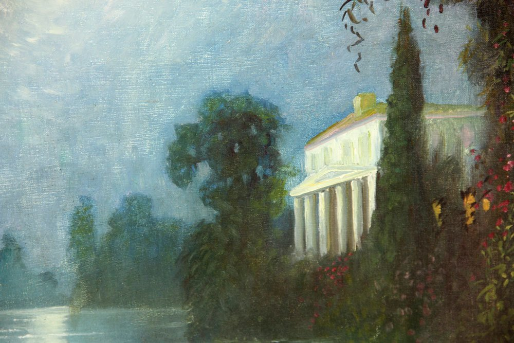 Attr. Castano, Italian Villa in Moonlight, Oil on - 3