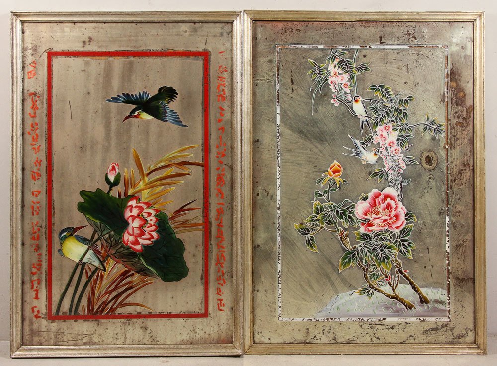 Two Chinese Reverse Paintings on Mirrors