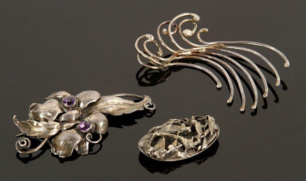 3 Modernist Sterling Silver Pins
