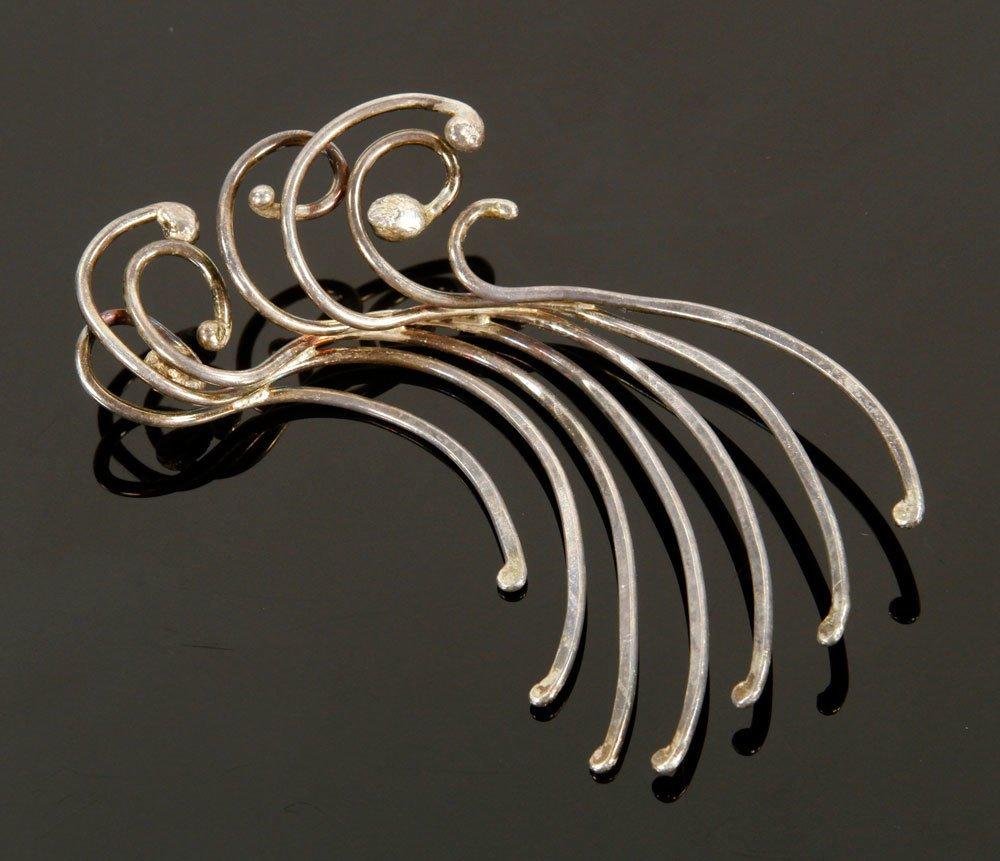 3 Modernist Sterling Silver Pins - 4
