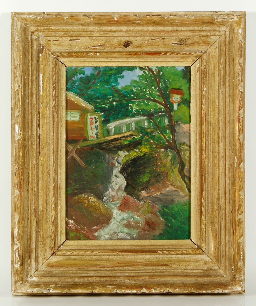 Japanese School, Stream and Hut, Oil on Canvas