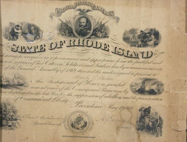 State of Rhode Island 1869 Signed Commission - 2