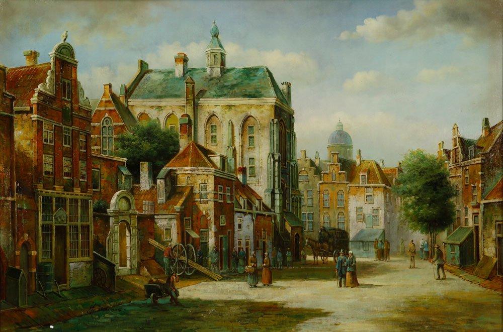 McKlaus, Dutch Street Scene, Oil on Canvas - 2