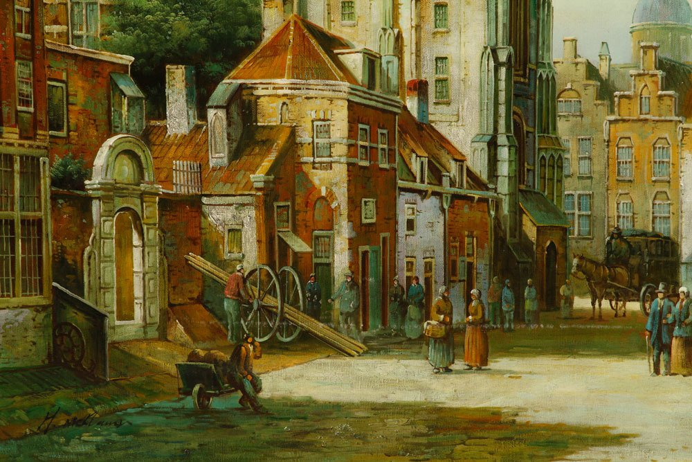 McKlaus, Dutch Street Scene, Oil on Canvas - 3