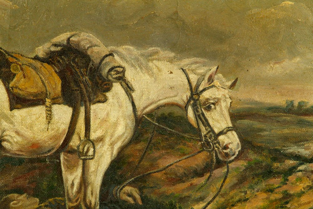 Markasse, Horse with Fallen Soldier, Oil on Canvas - 3
