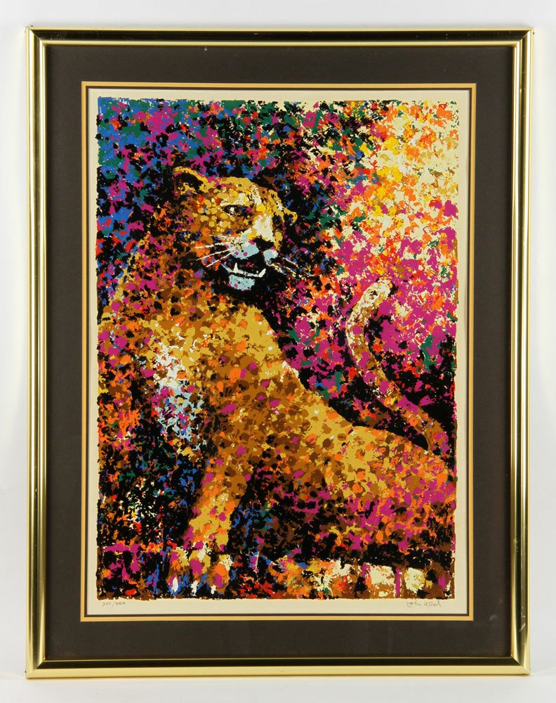 """West, """"The Leopard,"""" Colored Serigraph"""