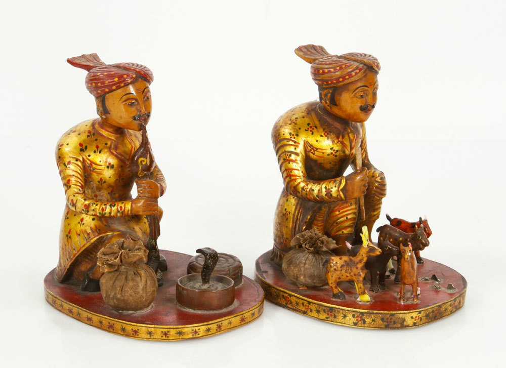 Pr. Indian Figures of Cobra Peddlers