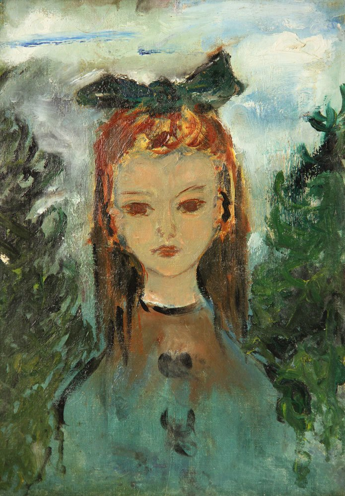 Mid Century Portrait of Girl, Oil on Board - 2