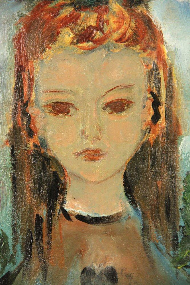 Mid Century Portrait of Girl, Oil on Board - 3