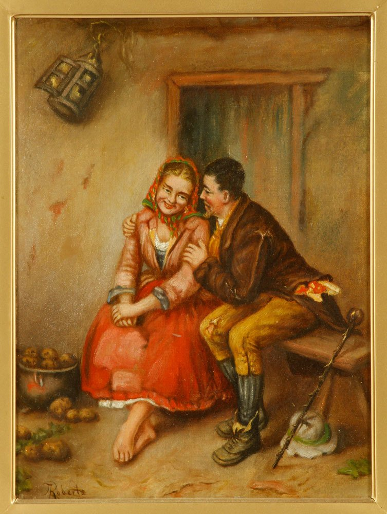 Roberts, Courting Scene, Oil on Canvas - 2