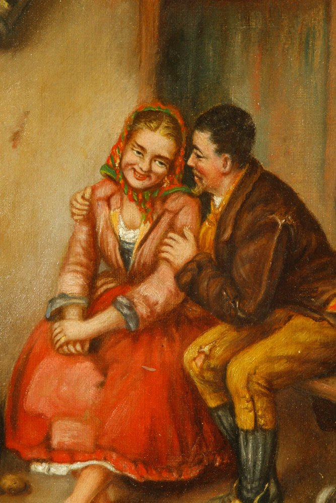 Roberts, Courting Scene, Oil on Canvas - 3
