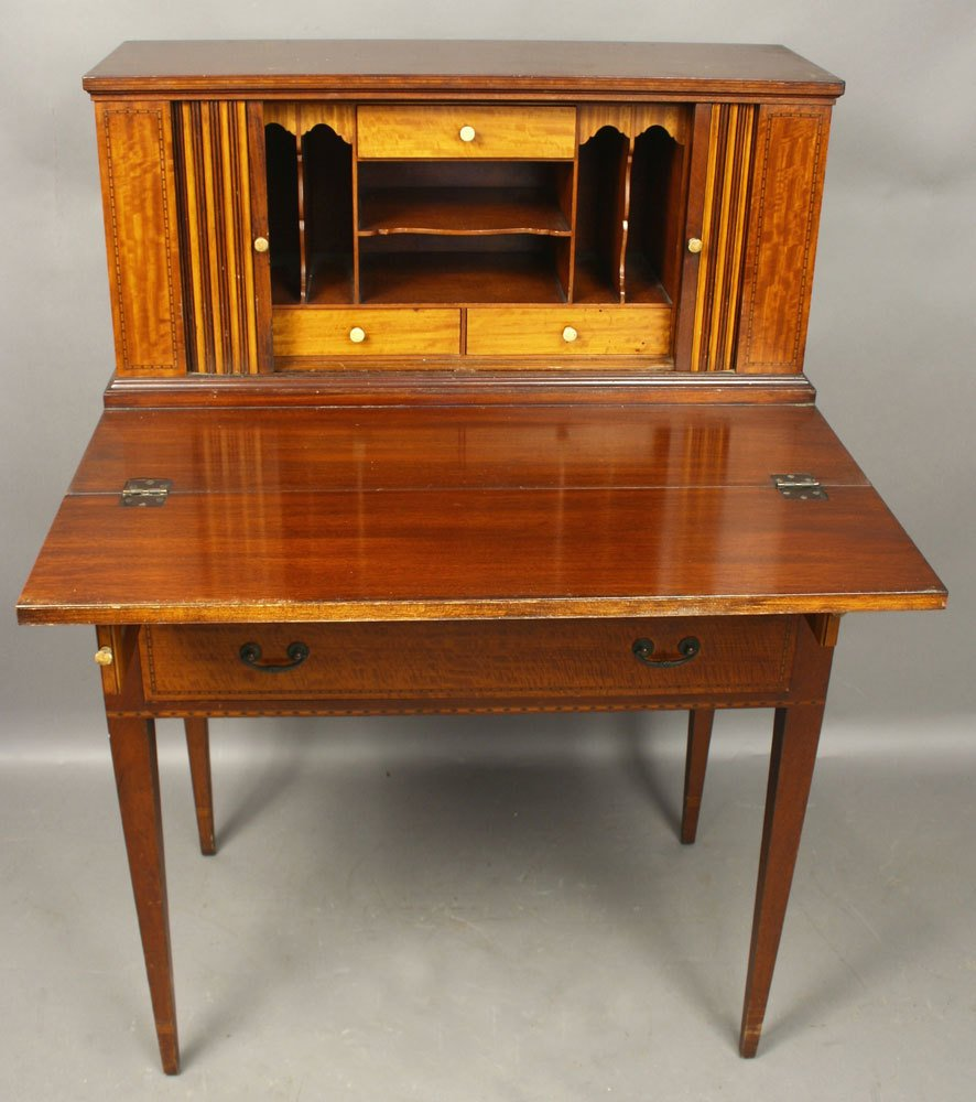 20th C. Mahogany Tambour Desk - 2