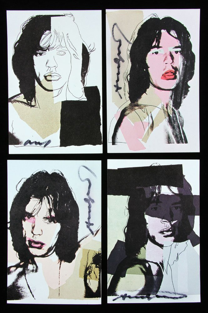 "Four Autographed Warhol ""Mick Jagger"" Announcement"