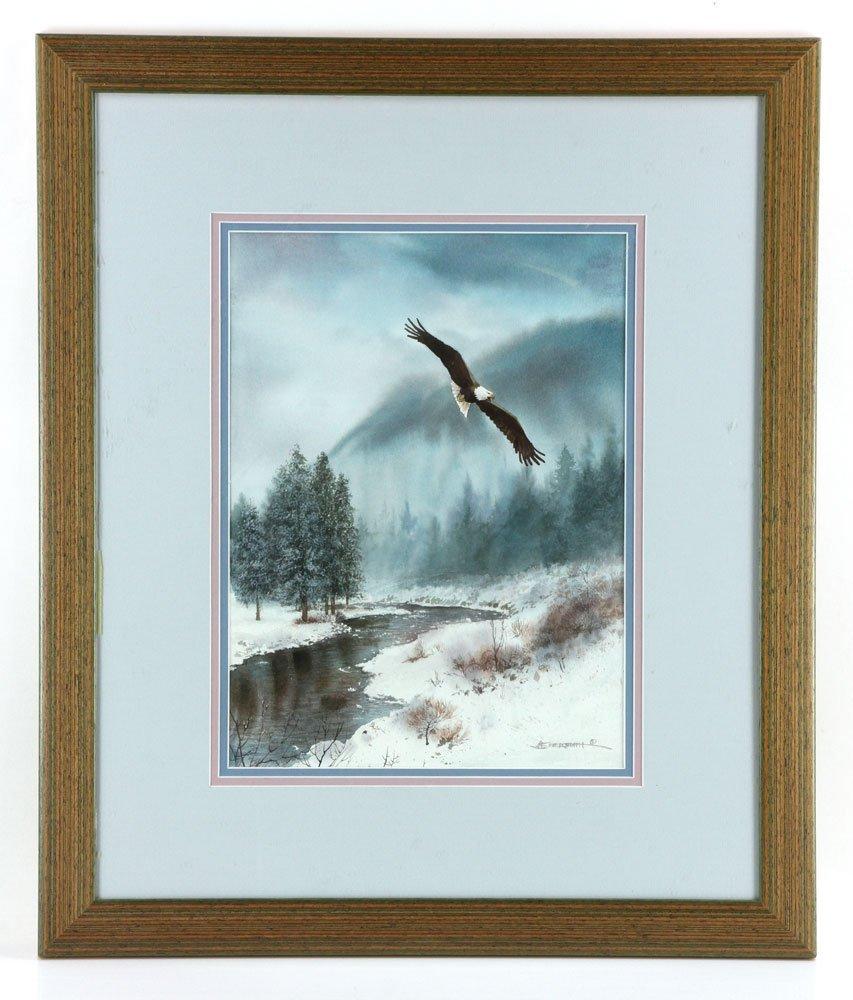 Flying Bald Eagle, Watercolor