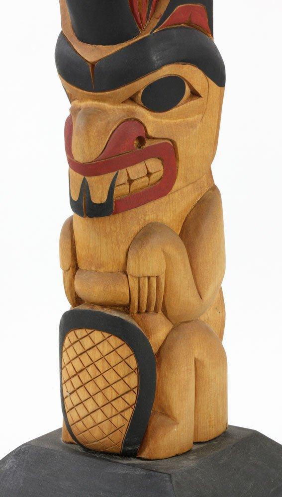 Salish Carved Polychrome Totem Pole - 10