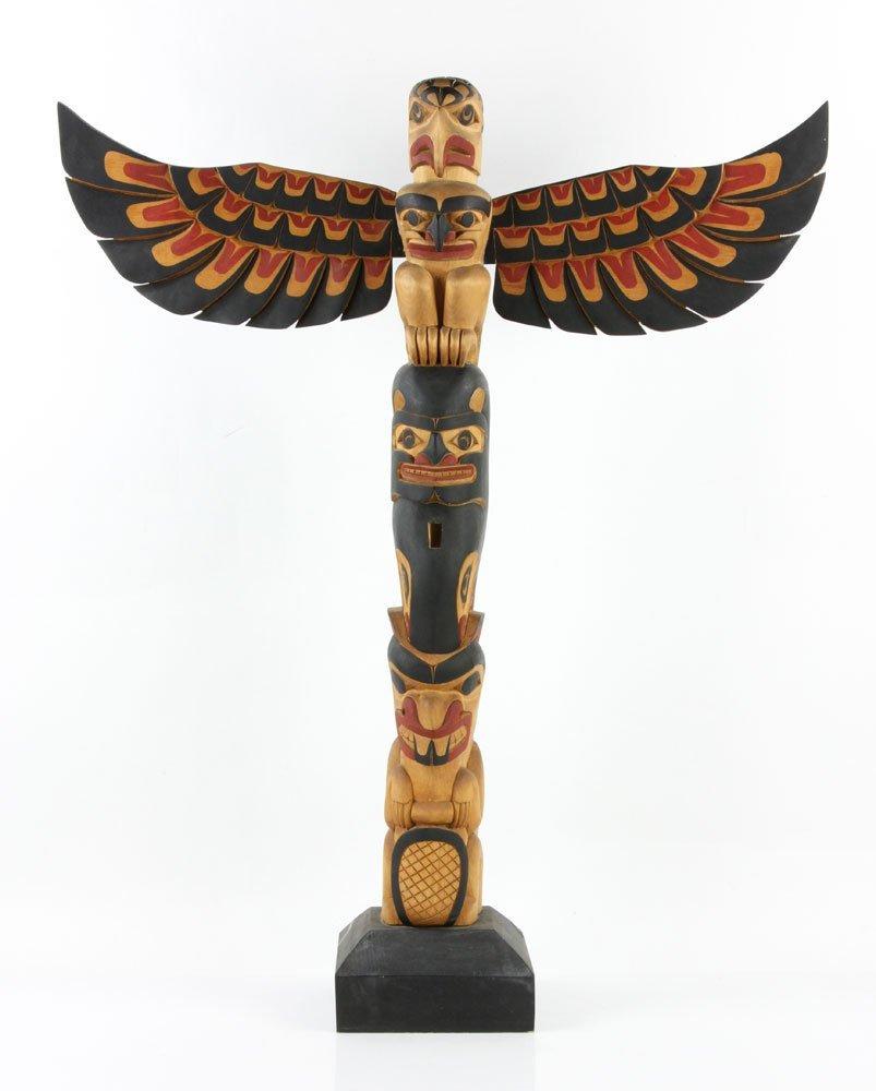Salish Carved Polychrome Totem Pole