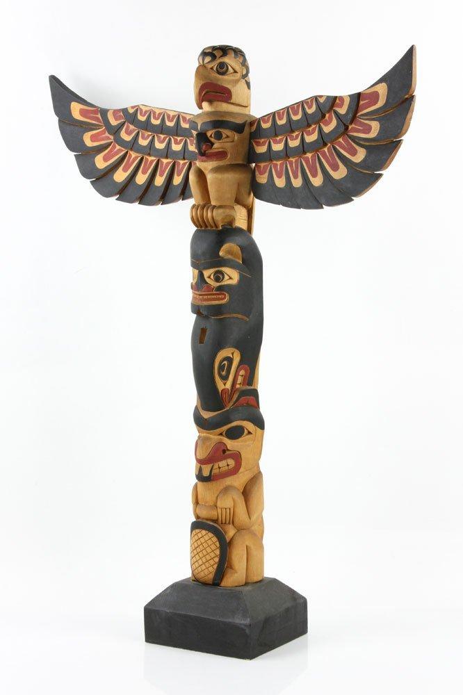 Salish Carved Polychrome Totem Pole - 3